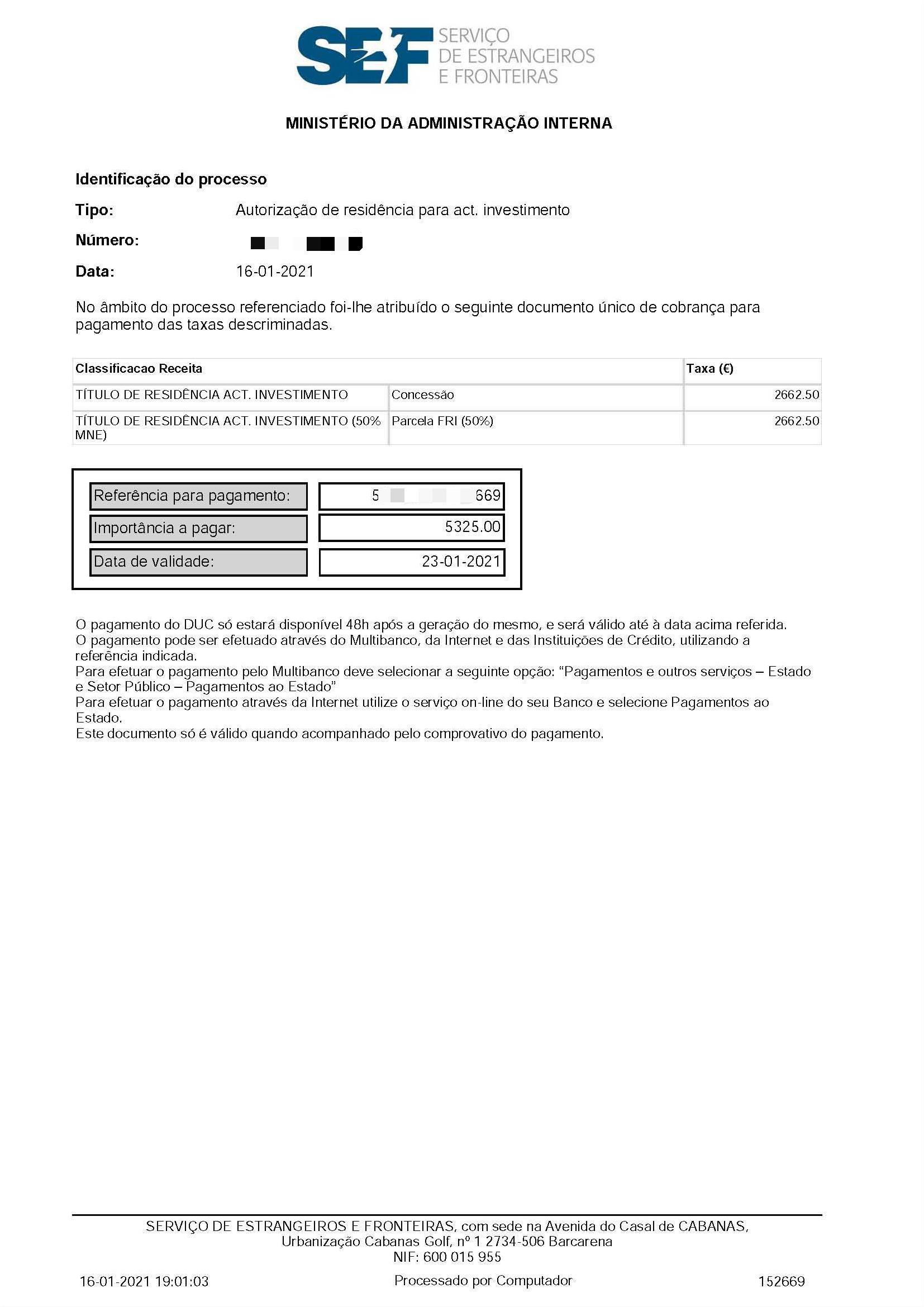 葡萄牙基金移民成功案例2021.02