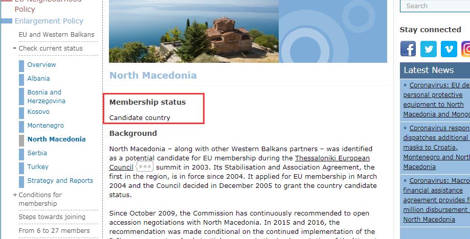 北马其顿加入欧盟进程 2021